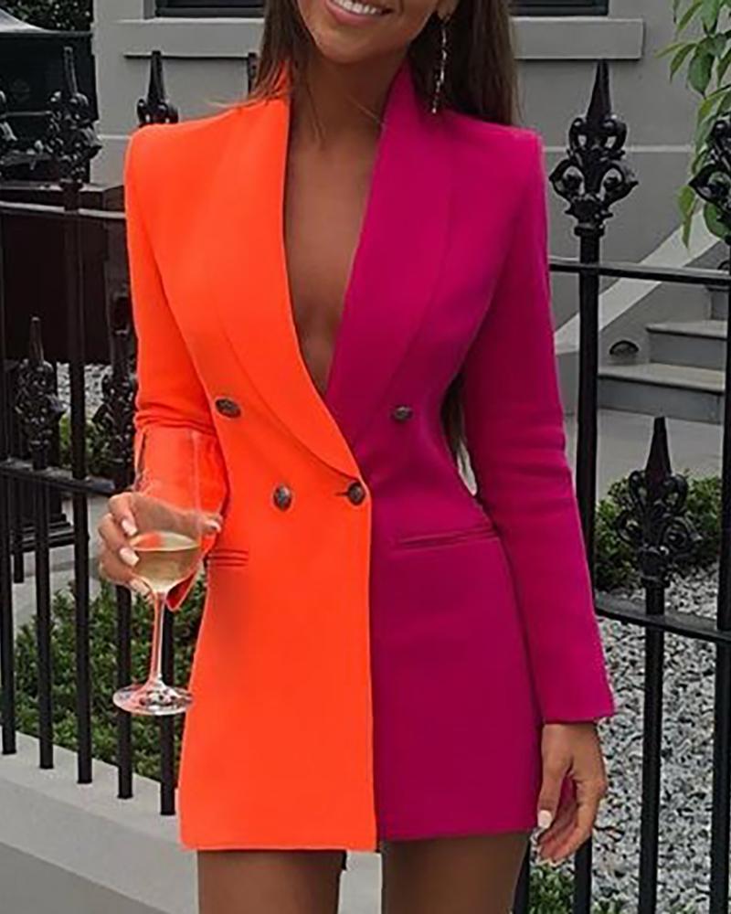 chicme / Vestido blazer de manga larga patchwork colorblock