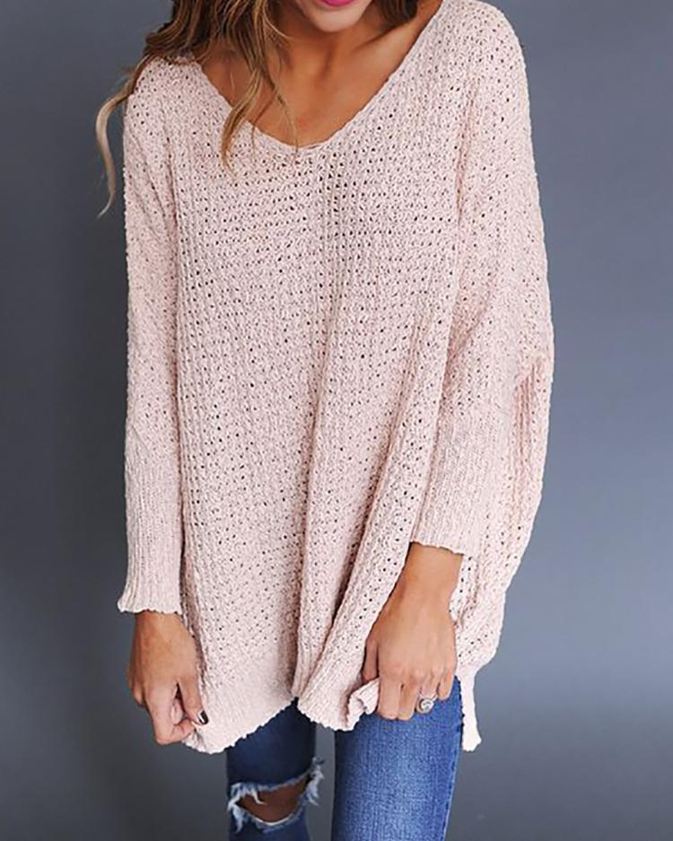 Fashion Solid V Neck Loose Knitted Sweater фото