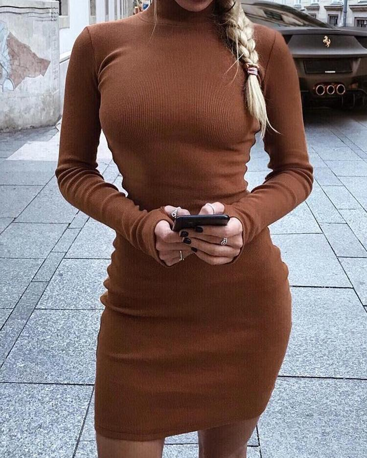 High Neck Skinny Long Sleeve Dress фото