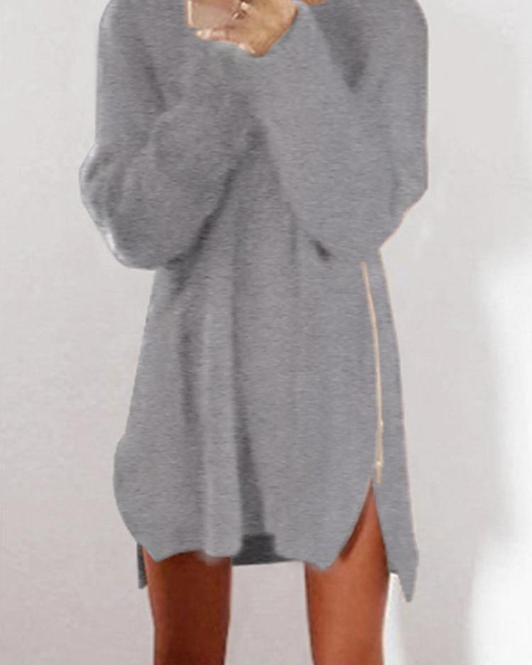 Fashion Side Zipper Casual Longline Sweater Dress