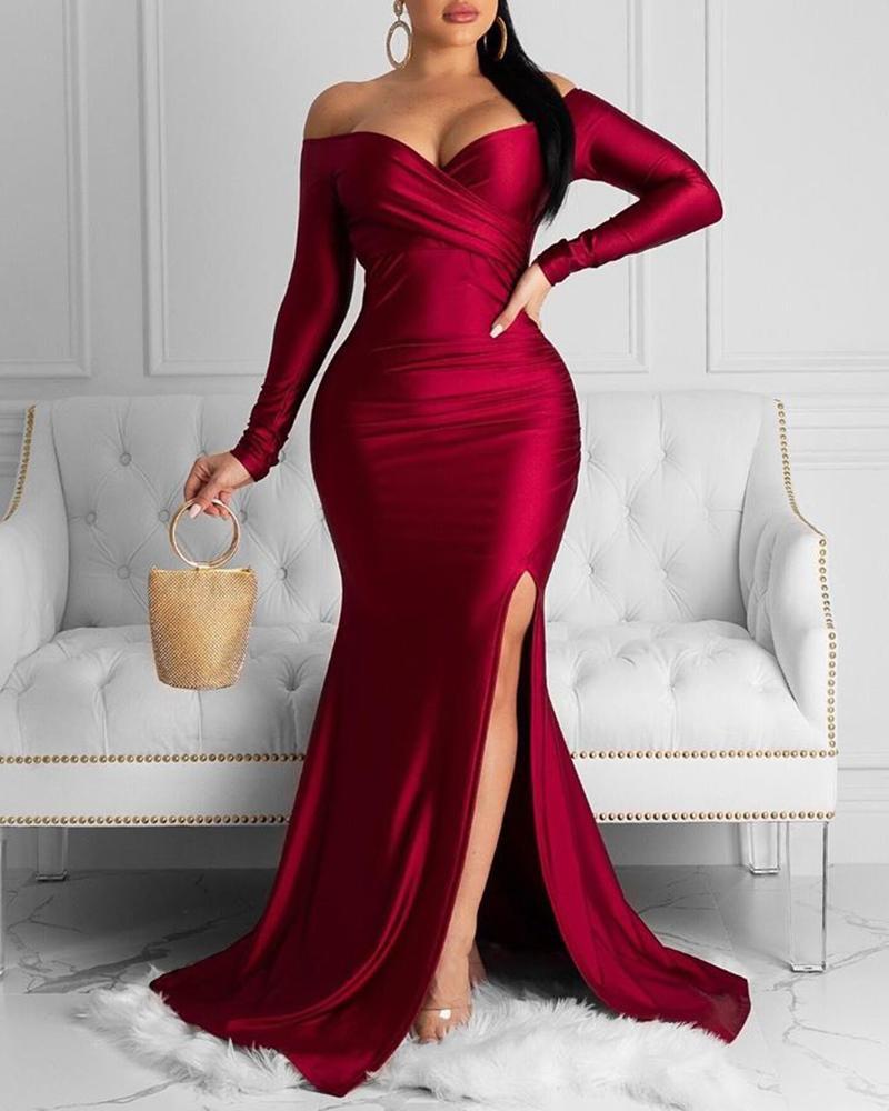 Off Shoulder Ruched Slit Evening Dress, Wine red