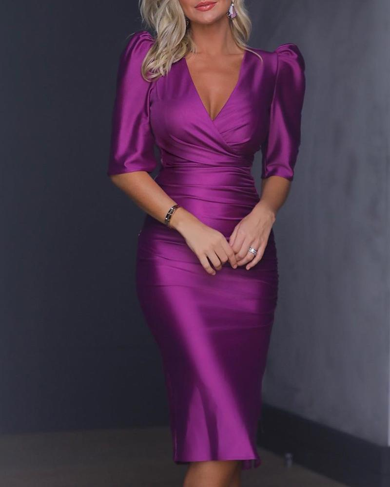 ivrose / Puffed Sleeve V-Neck Ruched Design Dress