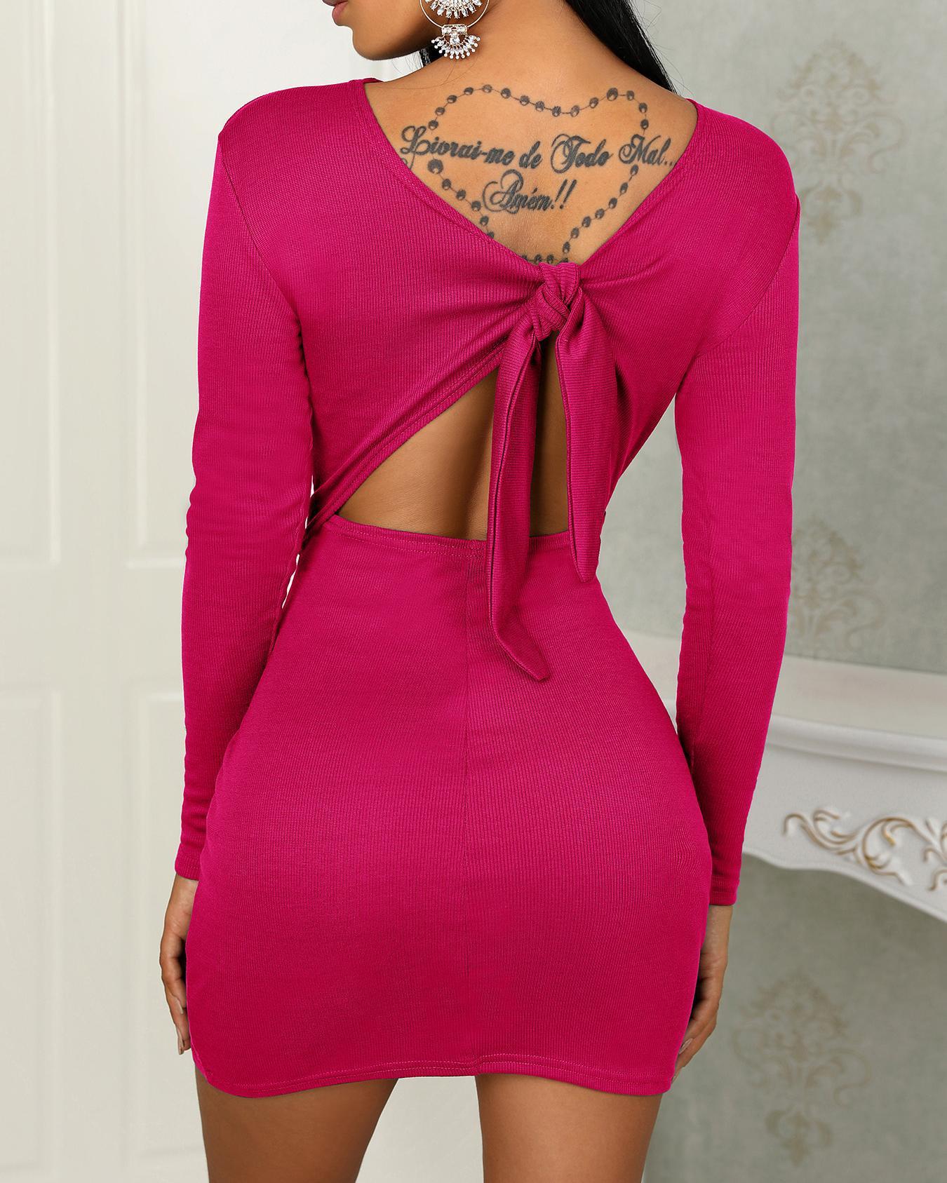 Solid Knot Open Back Bodycon Mini Dress фото