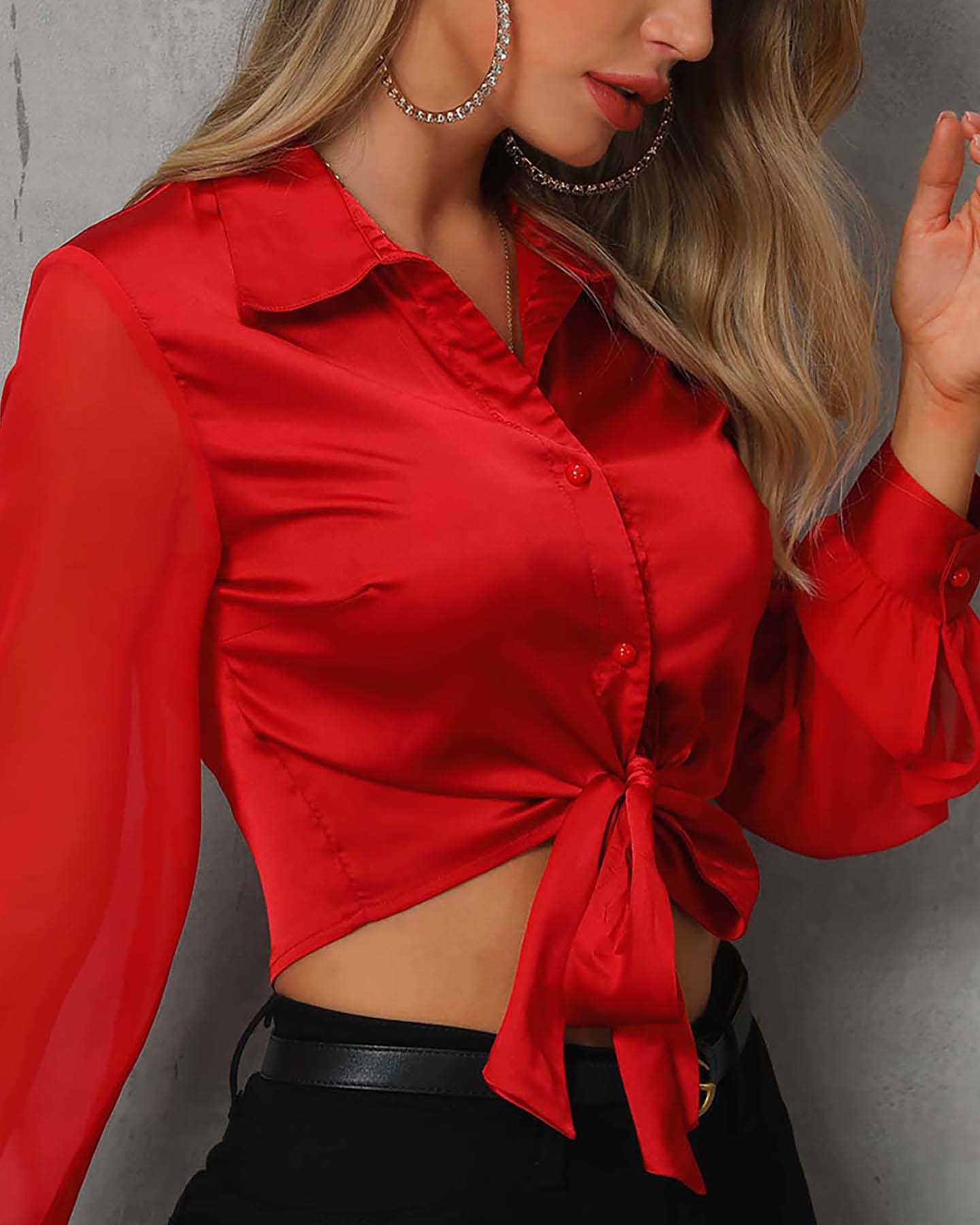 Mesh Sleeve Knotted Front Casual Shirt, Red