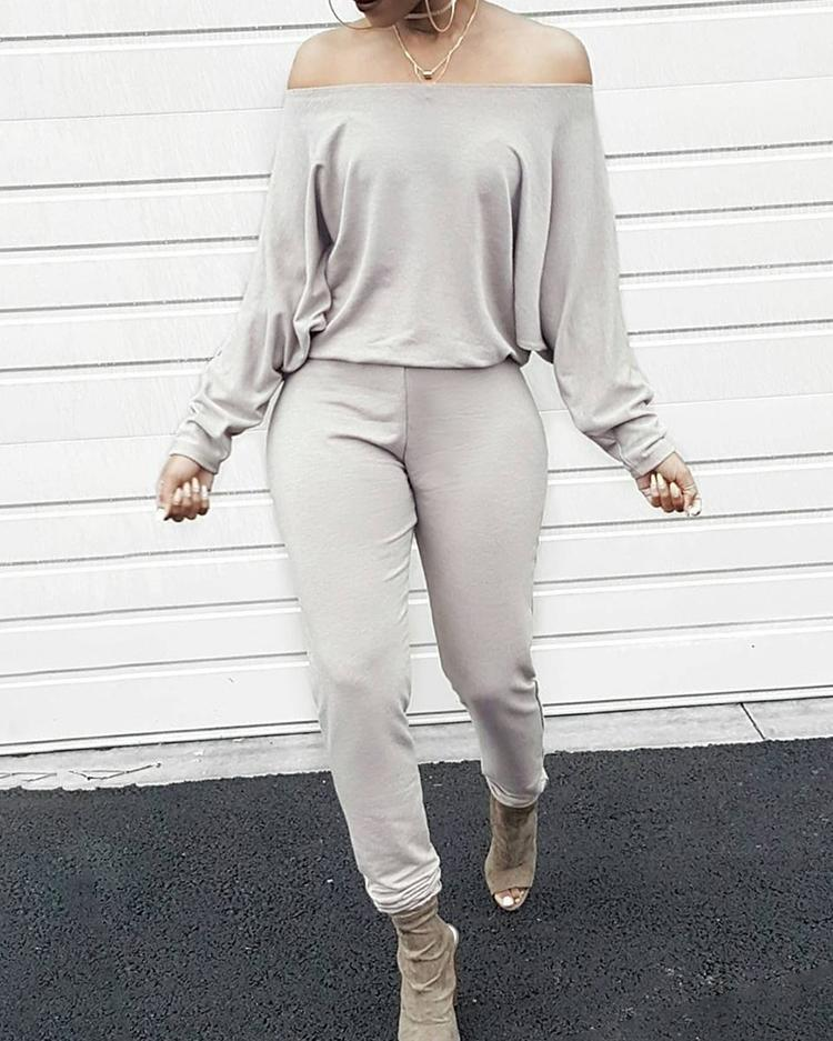 Fashion Solid Off Shoulder Shirring Waist Jumpsuit