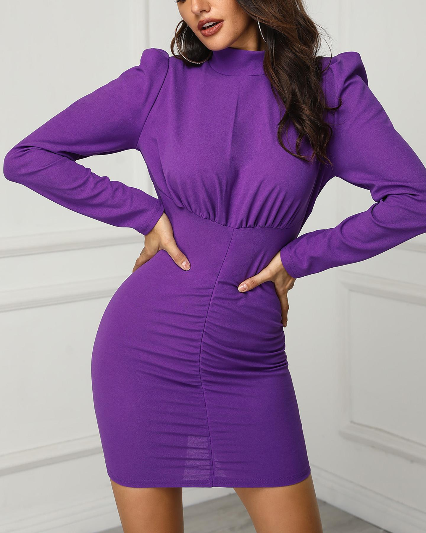 Puffed Sleeve Ruched Design Bodycon Dress фото