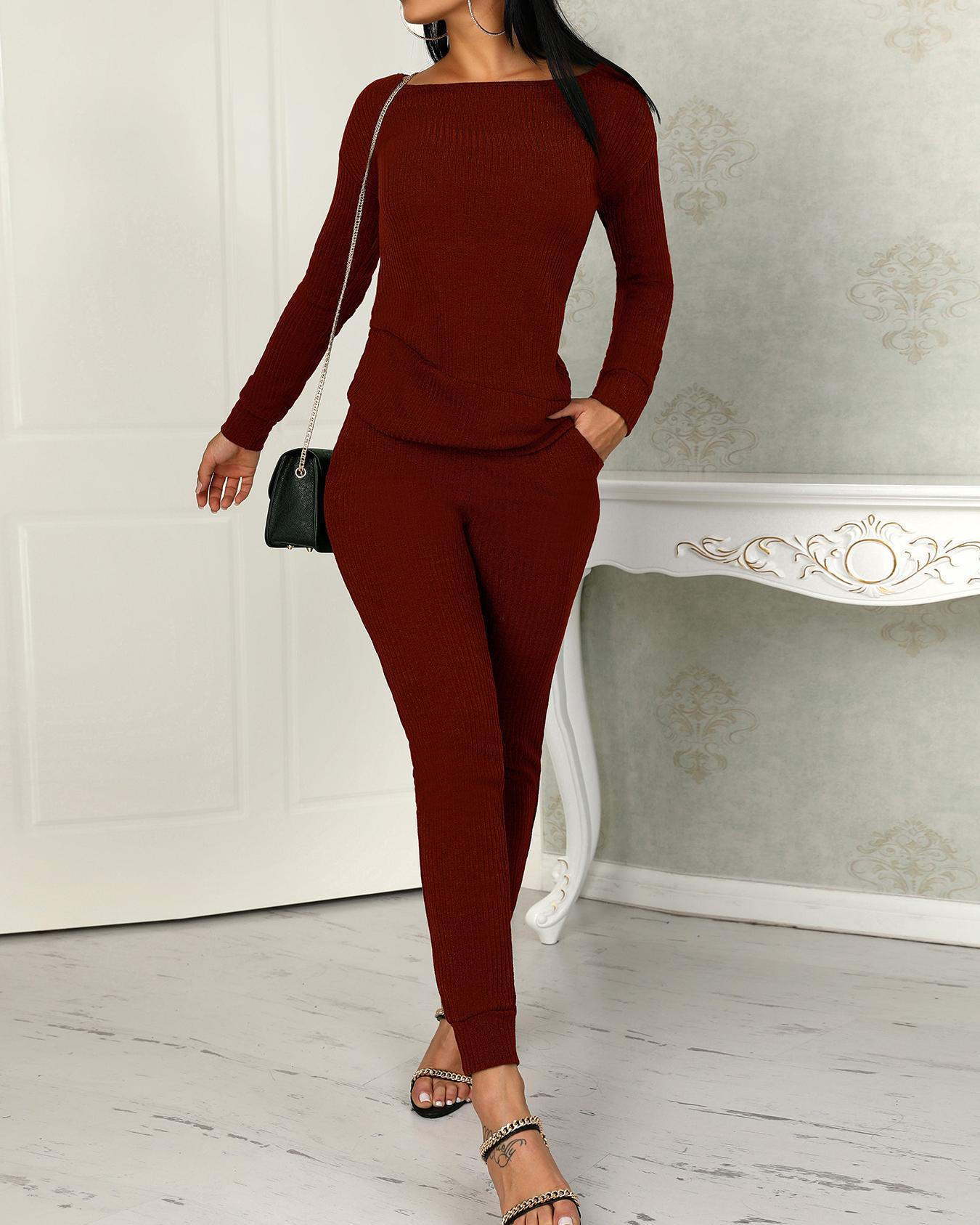 Long Sleeve Drawstring Knitted Top & Pants Set, Wine red