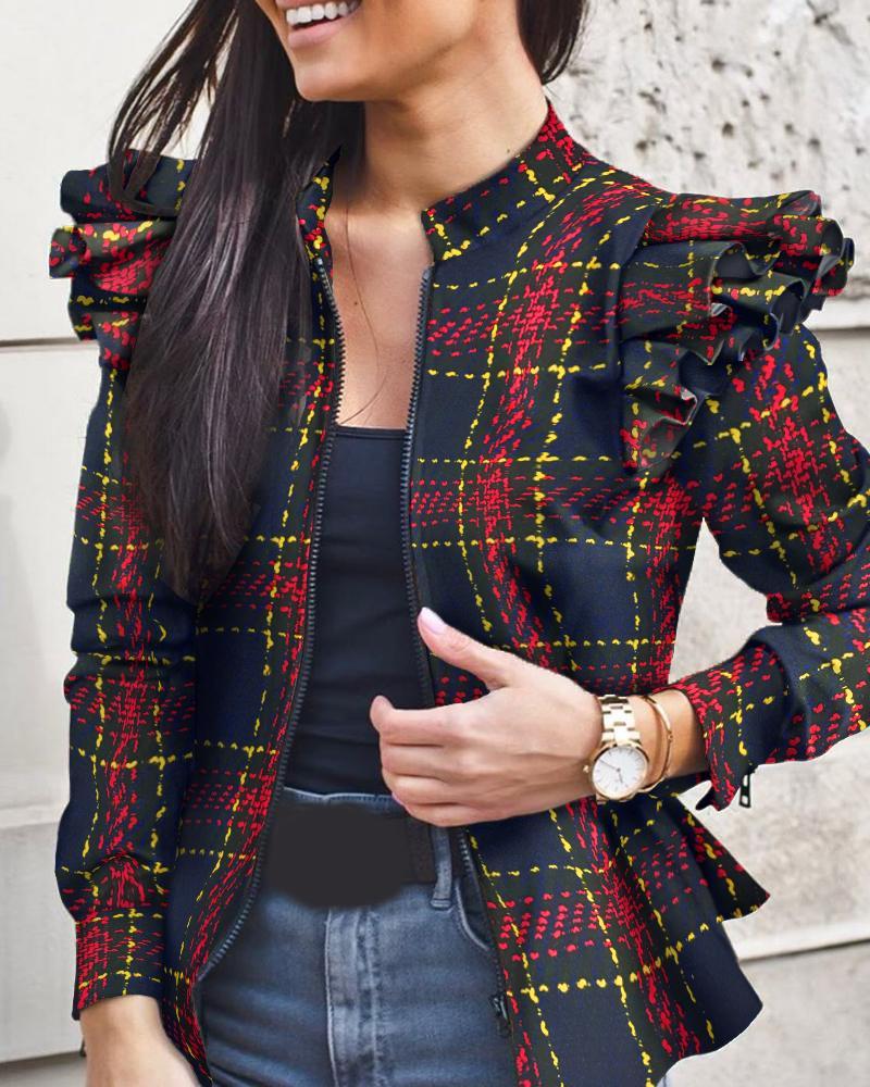Check Print Colorblock Ruffles Long Sleeve Jacket фото