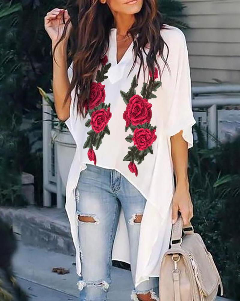 Floral Embroidery Short Sleeve V Neck Blouse фото