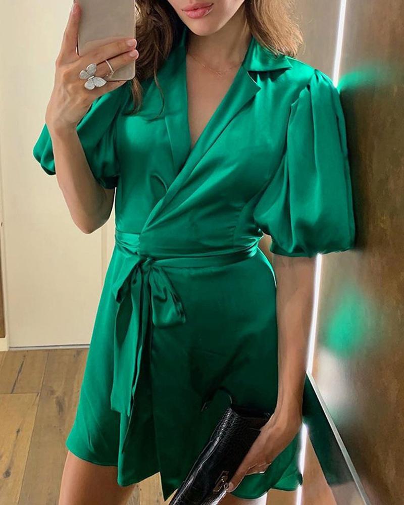 Surplice Wrap Lantern Sleeve Dress фото