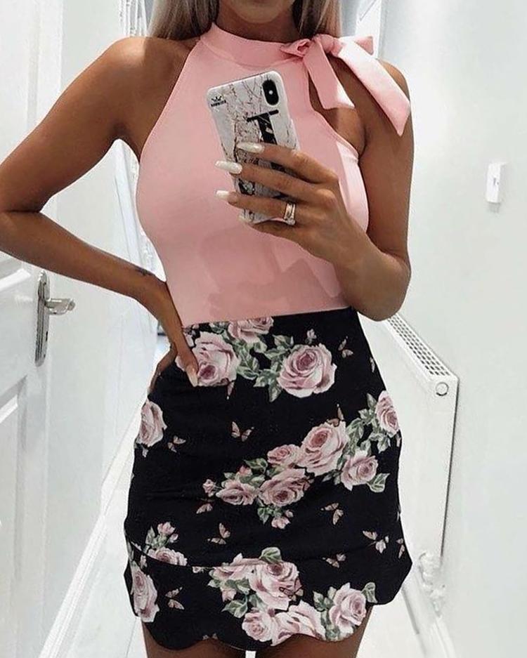 Sleeveless Tied Shoulder Print Splicing Mini Dress фото