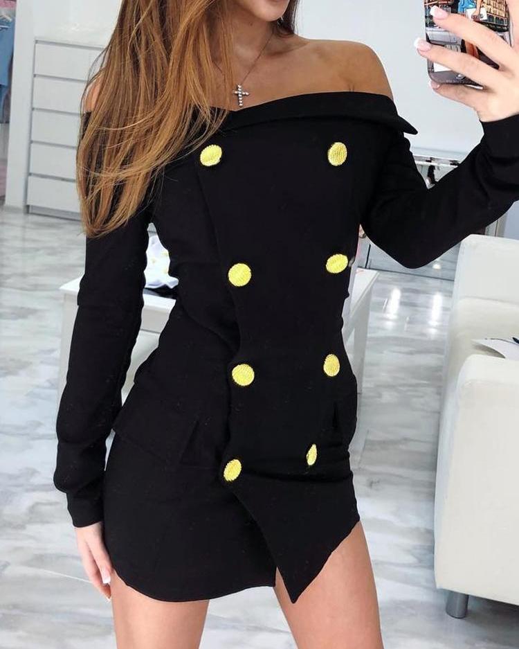joyshoetique / Double-Breasted Off Shoulder Mini Dress