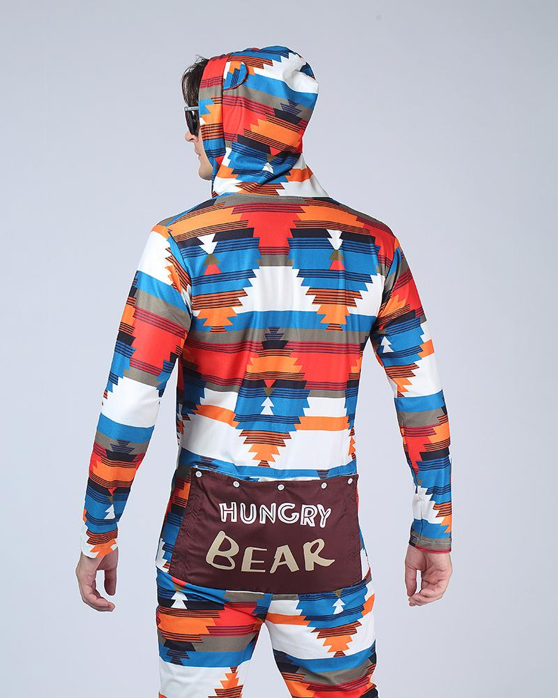 Multicolor Long Sleeve With Bear Ear Hoodies Button-up Jumpuit