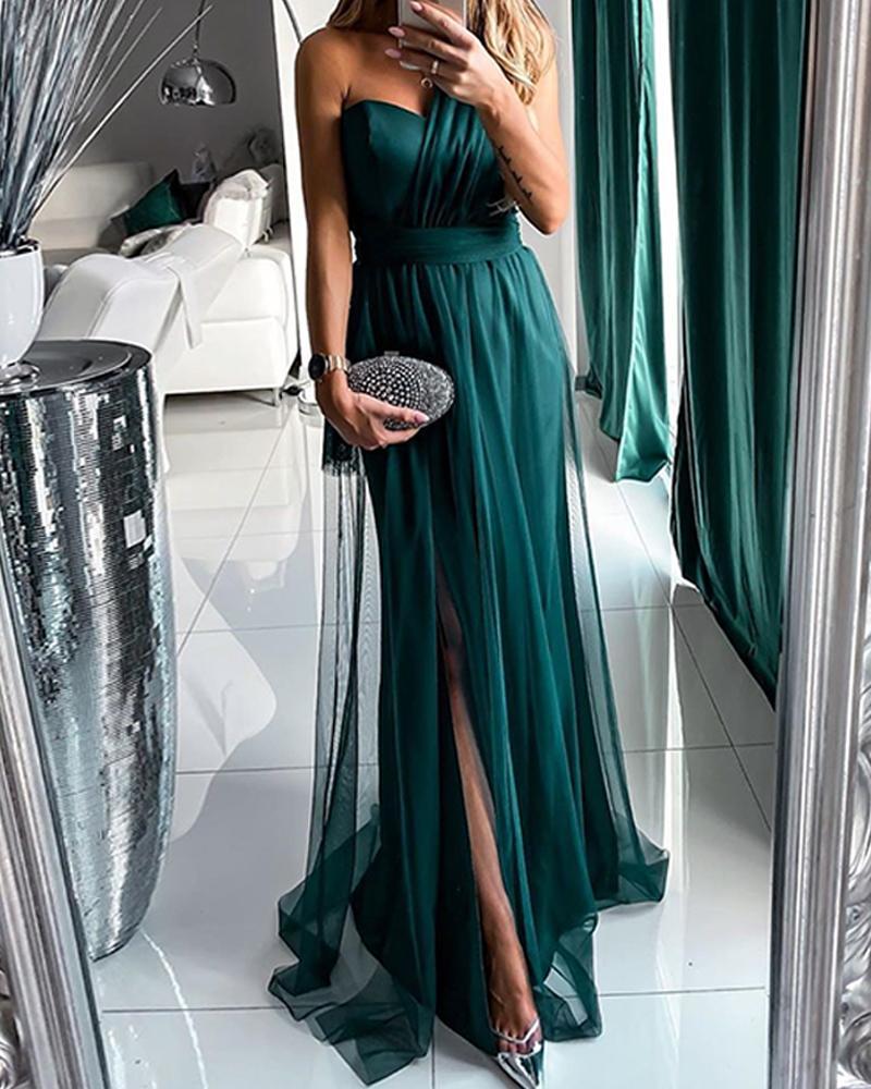 Solid Multiway Mesh Maxi Dress фото