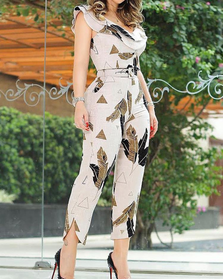 boutiquefeel / Estampa foliar Layered Ruffle Split Leg Jumpsuit