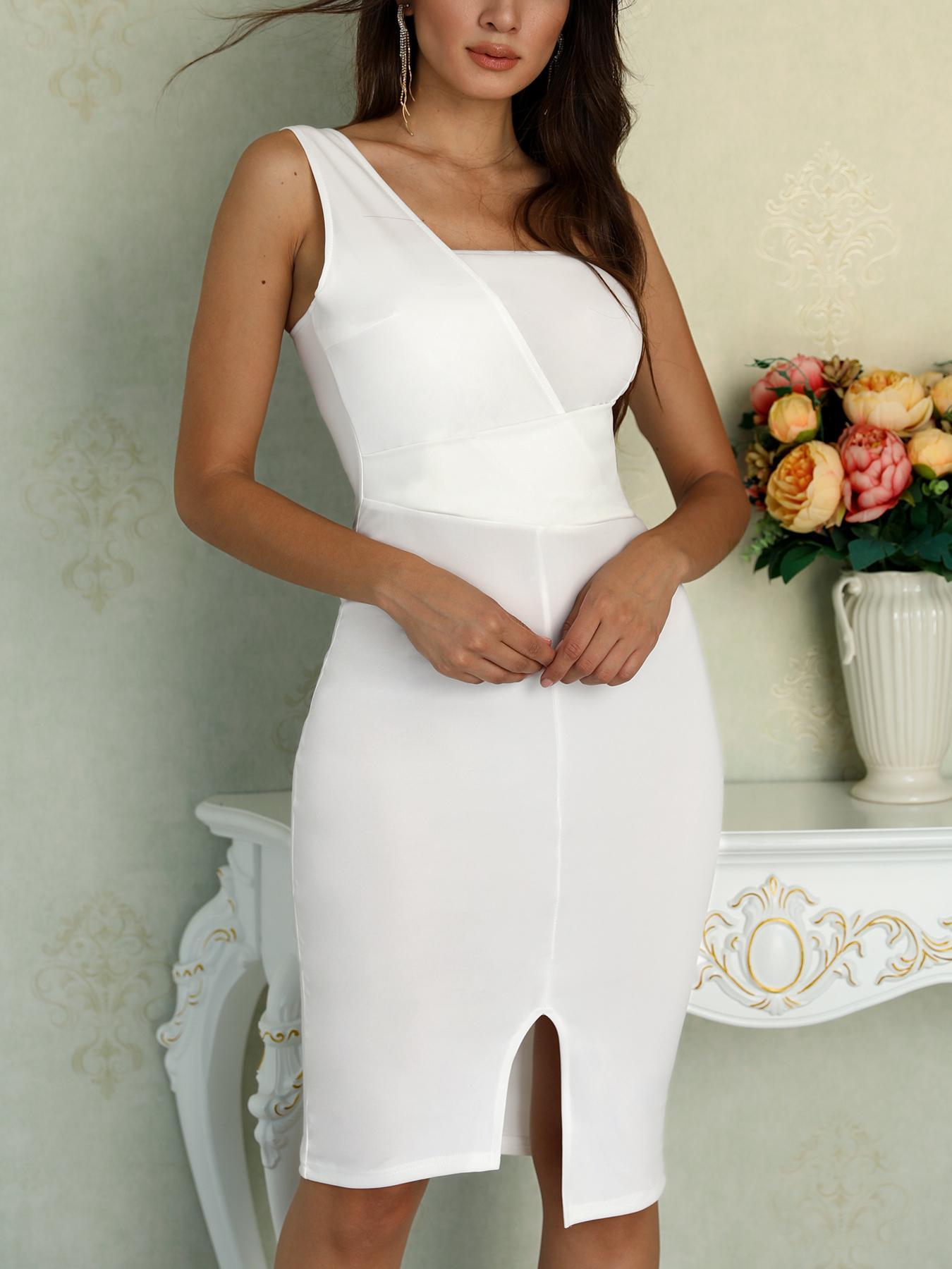 One Shoulder Ruched Slit Front Sheath Dress