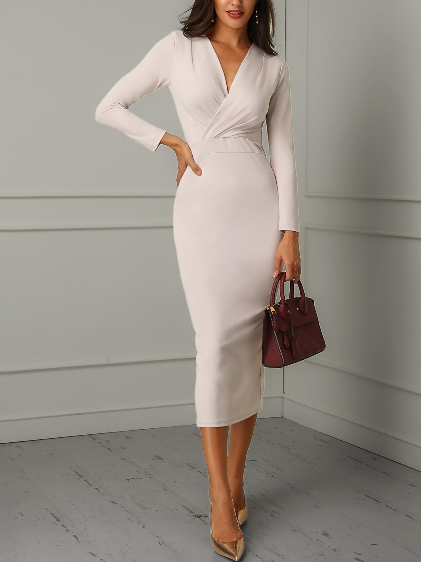 Ruched Wrapped Long Sleeve Bodycon Dress