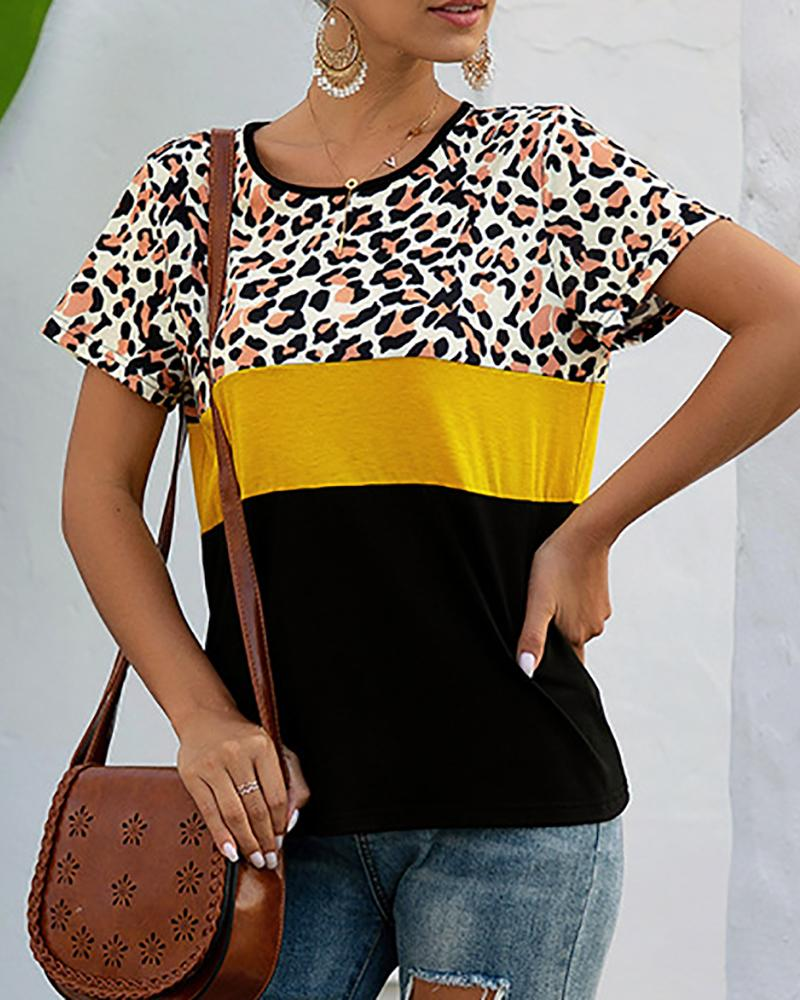 boutiquefeel / T-shirt da inserção de Colorblock da cópia do leopardo