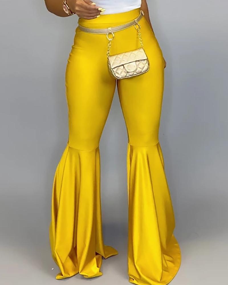 chicme / Pantalones de PU sólidos con cintura alta y campana