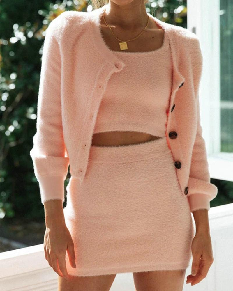 Fluffy Tank Skirt Cardigan Three-piece Sets фото