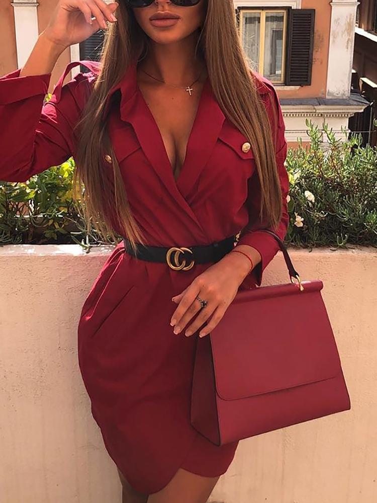 ivrose / Deep V-Neck Irregular Blazer Dress