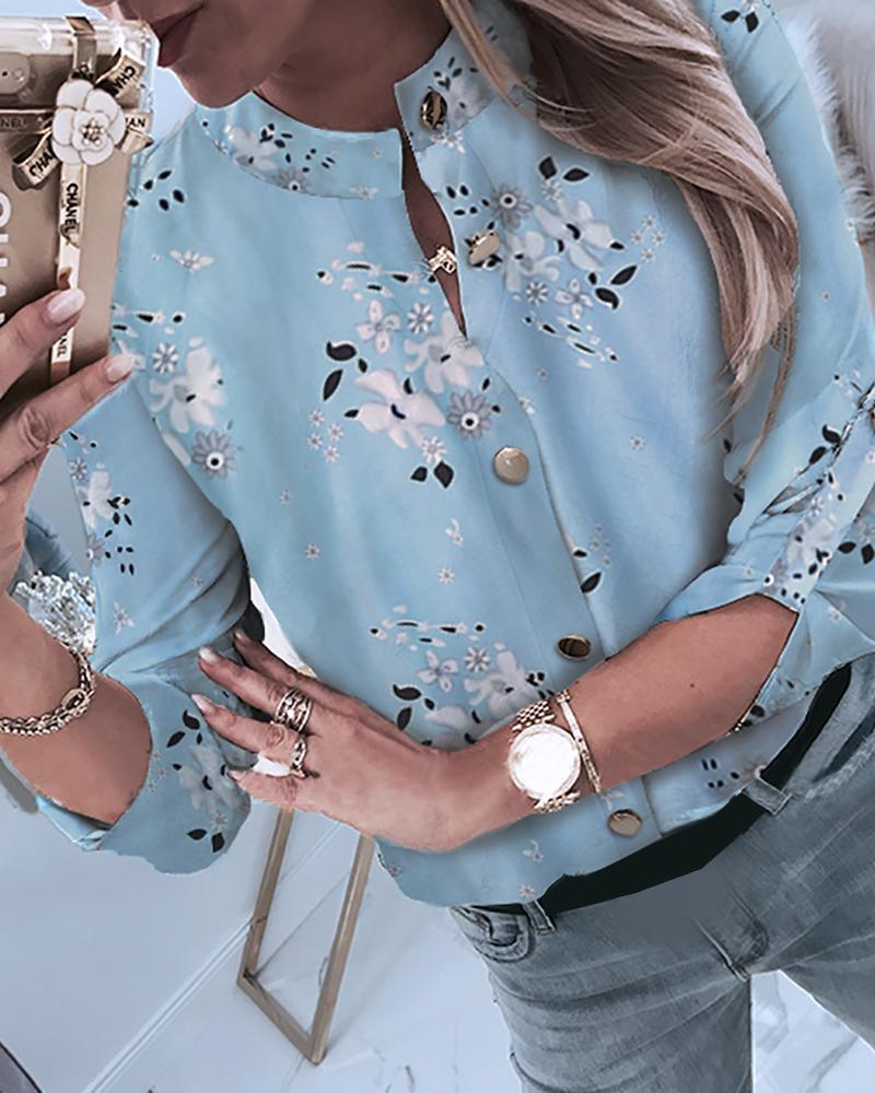 chicme / Botón estampado floral a través de camisa casual