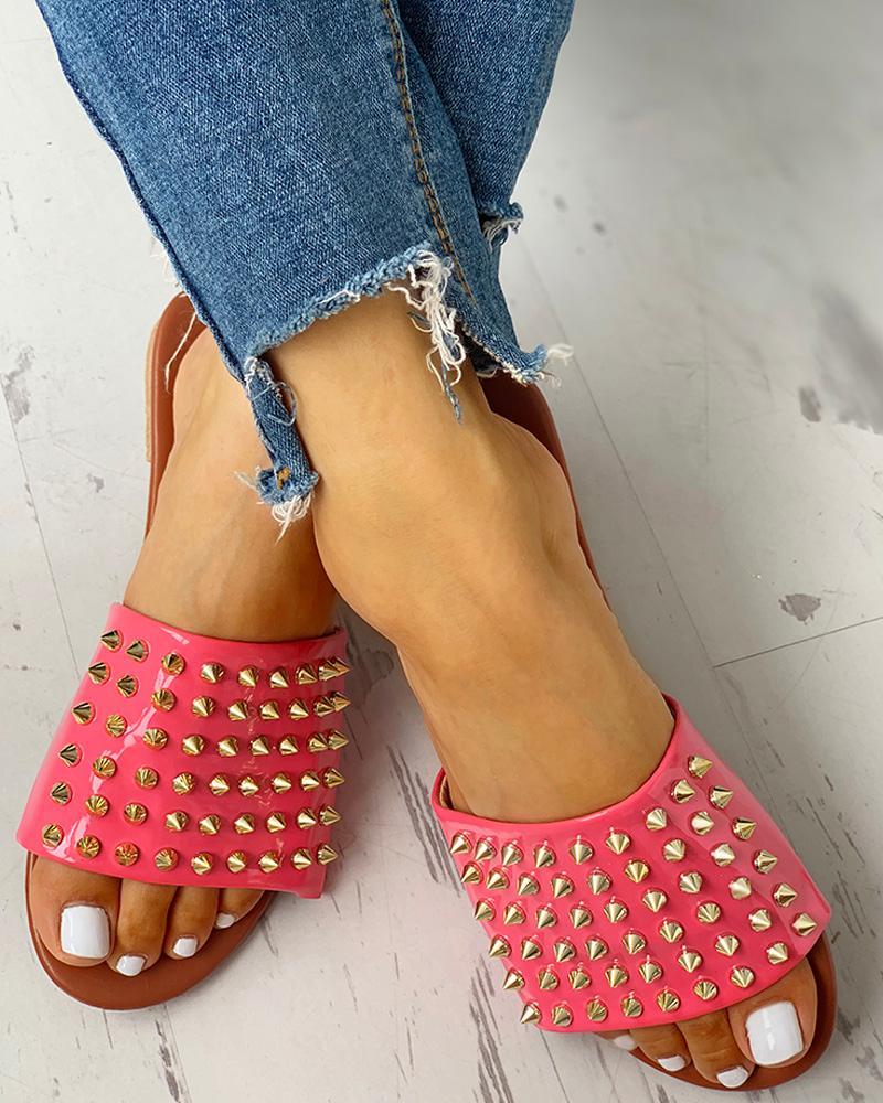 chicme / Chinelo de sandálias planas de design rebite