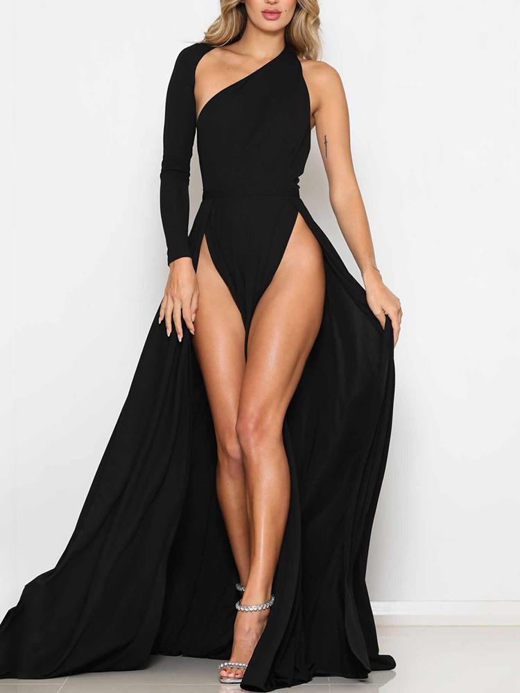 Solid One Sleeve Backless Thigh Slit Evening Dress