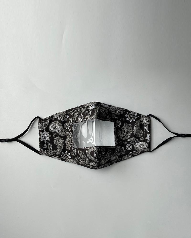Paisley Print Visible Face Mask, Black