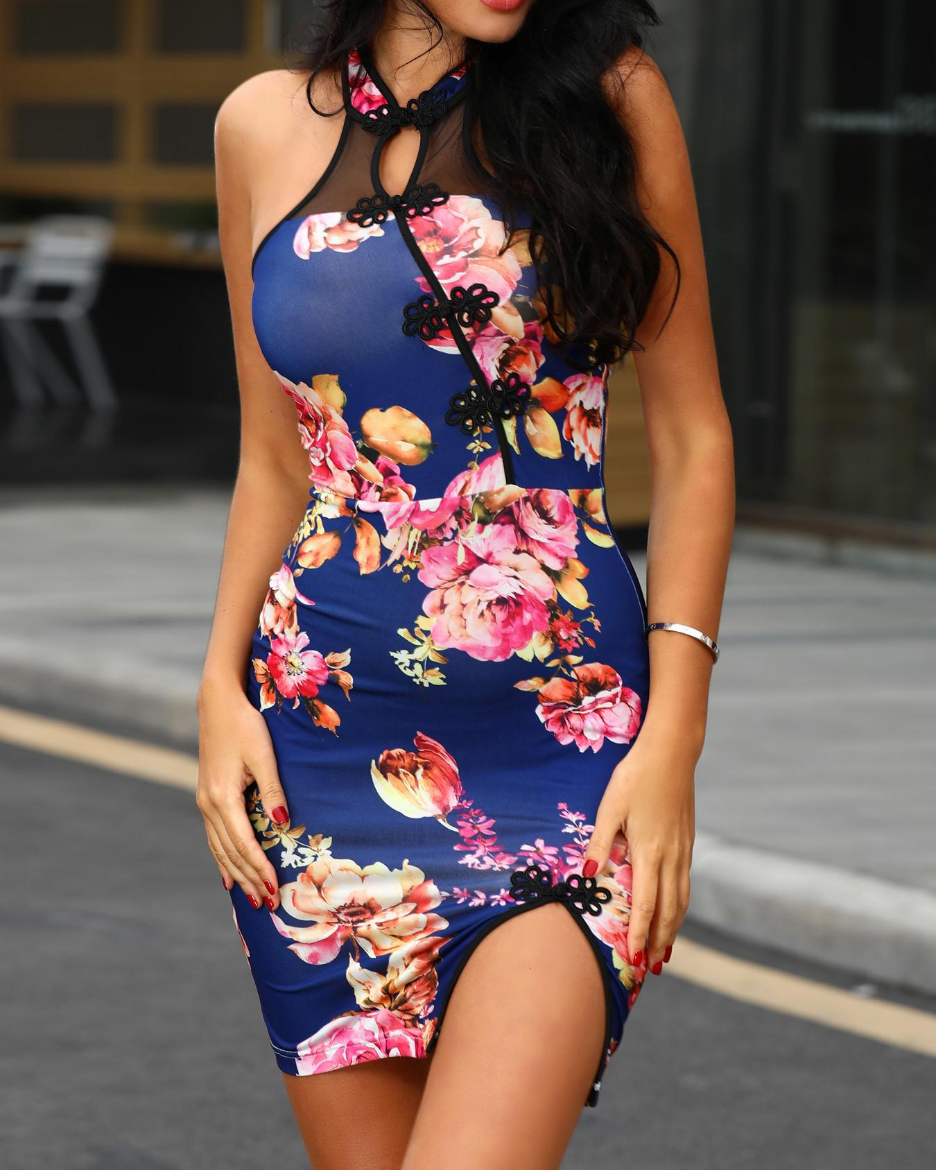 Floral Print Multi-Strap Back Slit Bodycon Dress фото