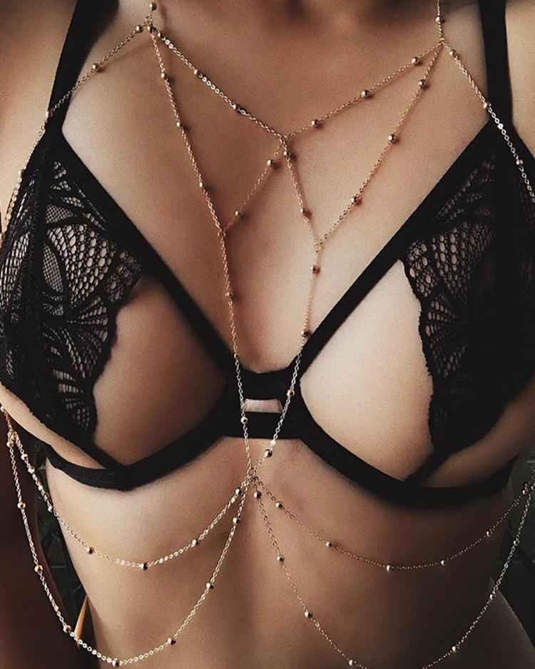 Alluring Low Cut Caged Beading Embellished Chain Bra Accessories фото