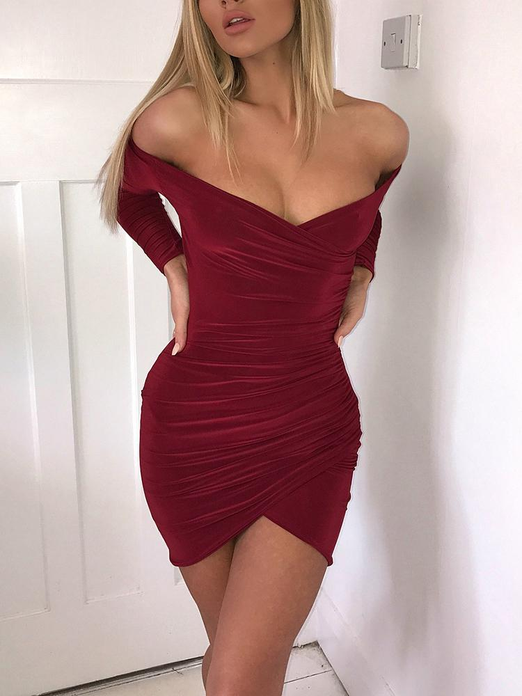 Off Shoulder Ruched Mini Dress - Wine Red фото