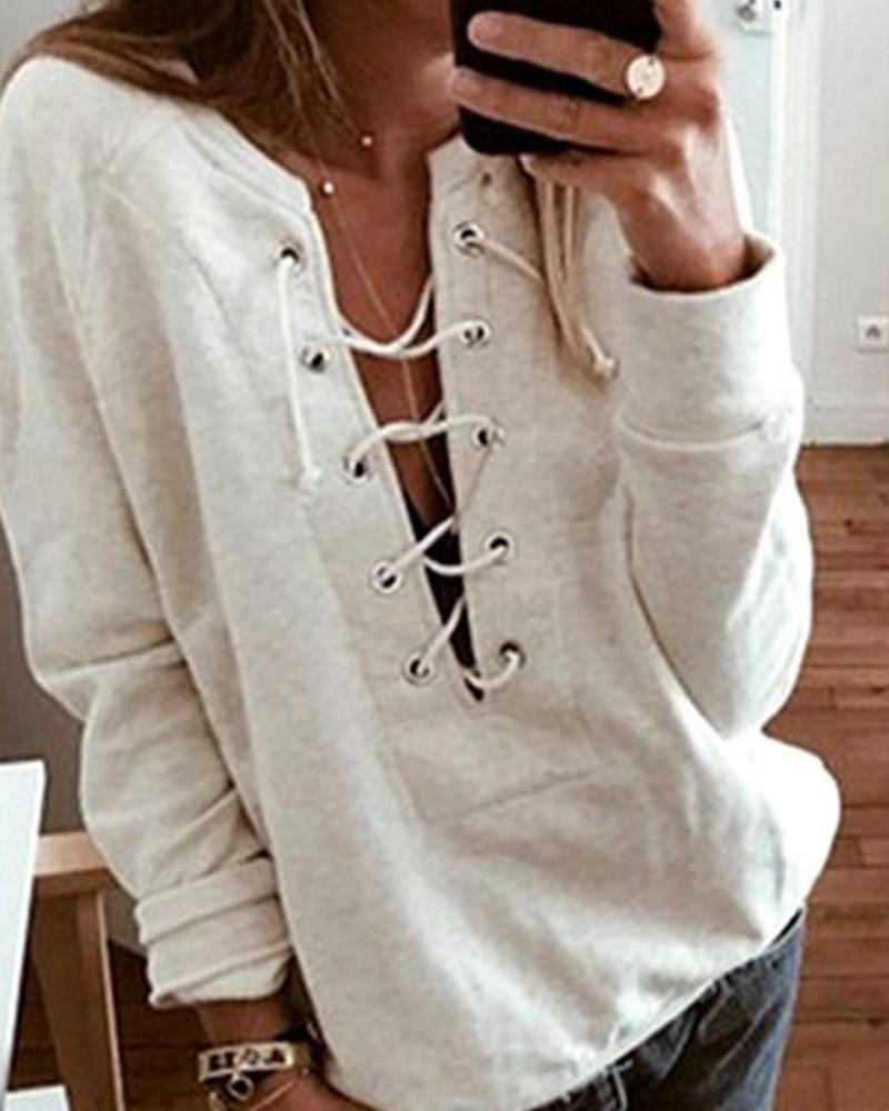 Open Front Lace Up Top фото