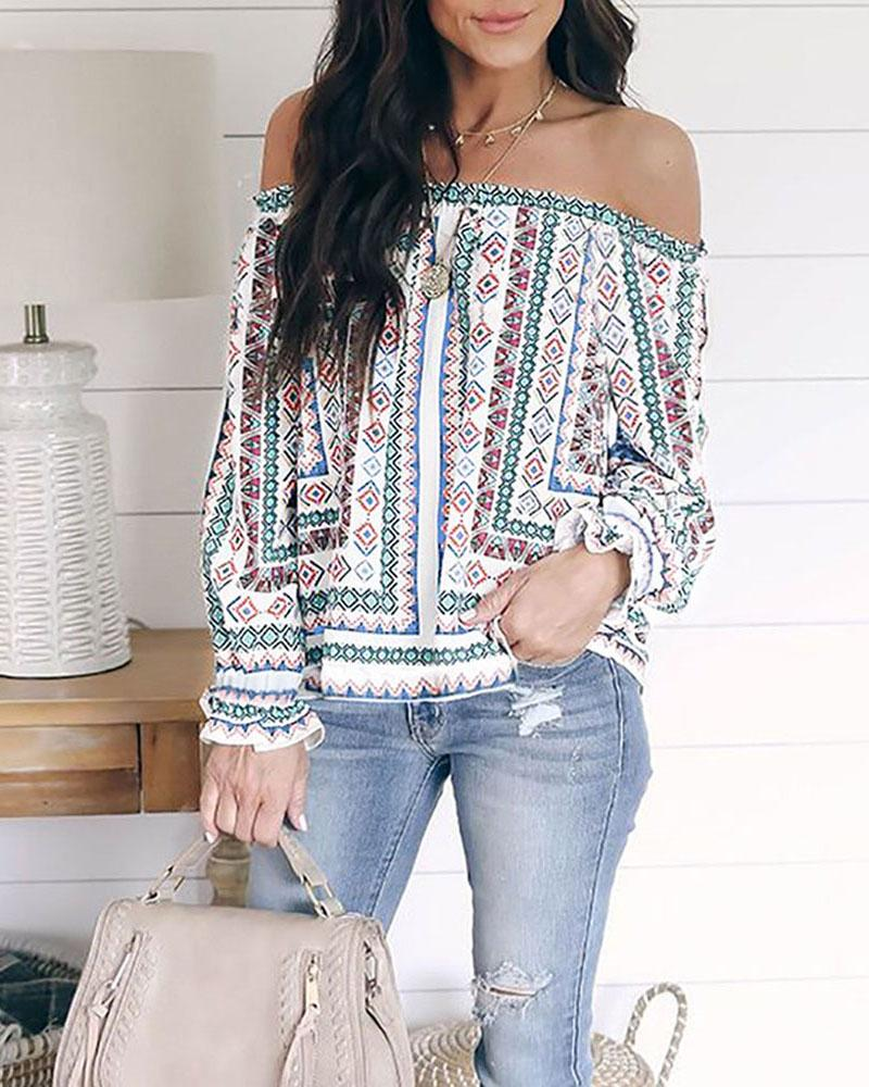 Ethnic Print Off Shoulder Long Sleeve Casual Blouse фото