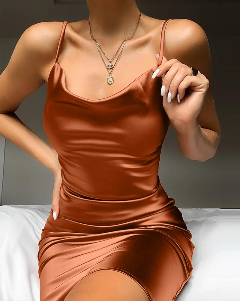 Plunge Neck Satin Mini Dress фото