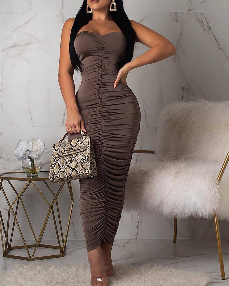 Tube Ruched Solid Midi Dress фото