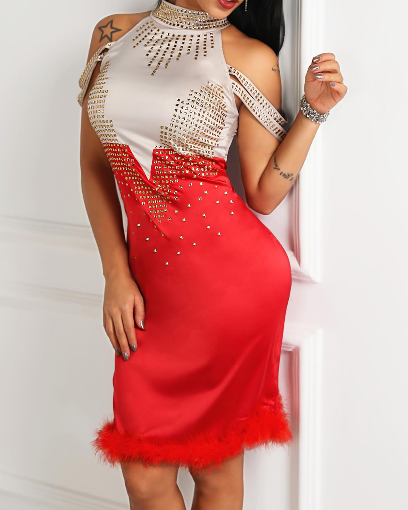 Hot Drilling Fluffy Embellished Party Dress