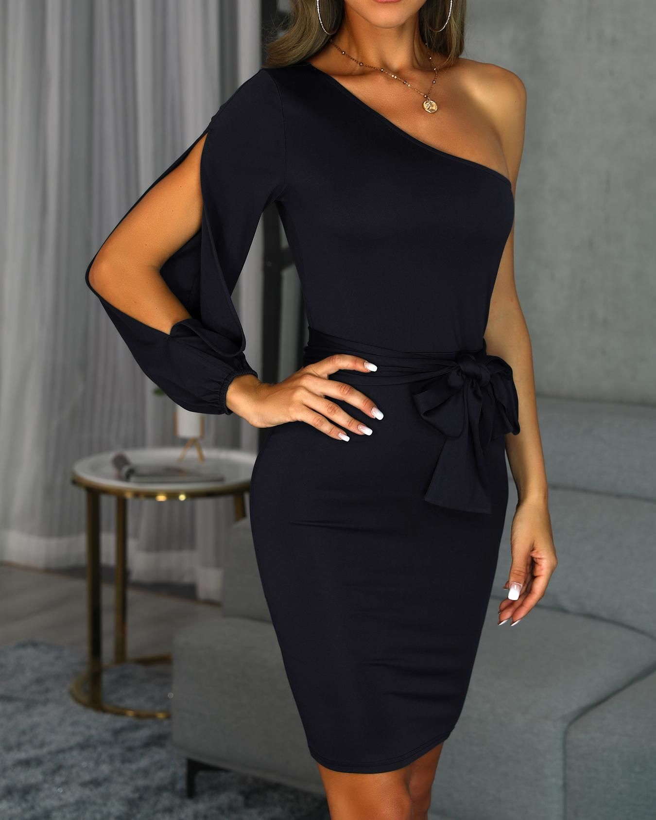 One Shoulder Slit Sleeve Bodycon Dress фото