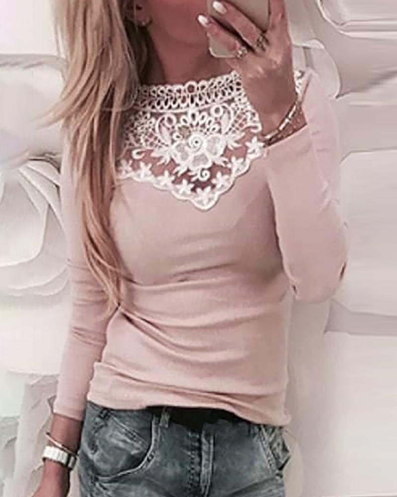 Crochet Lace Long Sleeve Blouse фото