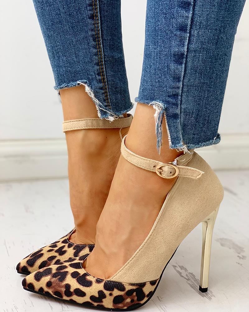 ivrose / Pointed Toe Leopard Insert Thin Heels