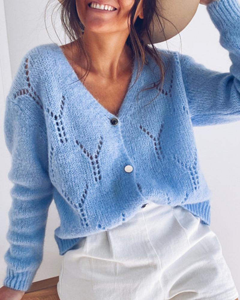 Solid Button Design Hollow Out Knit Casual Sweater фото