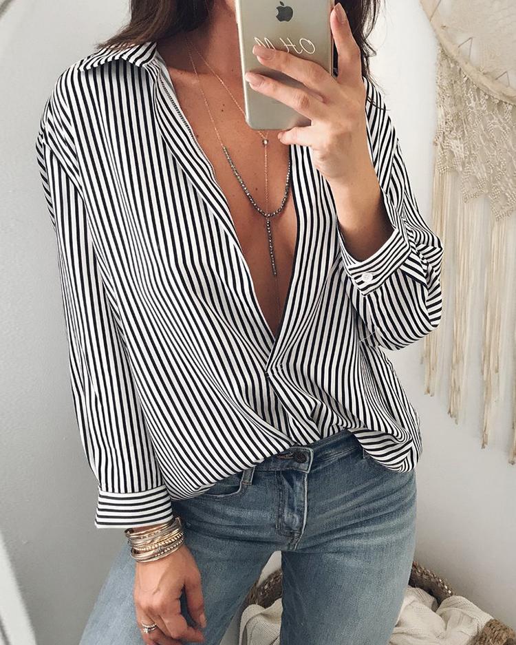 Завитки Мода Окунуться Повседневный Блузка