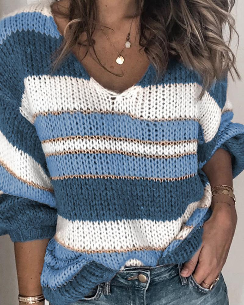 Striped Colorblock Long Sleeve Casual Sweater фото