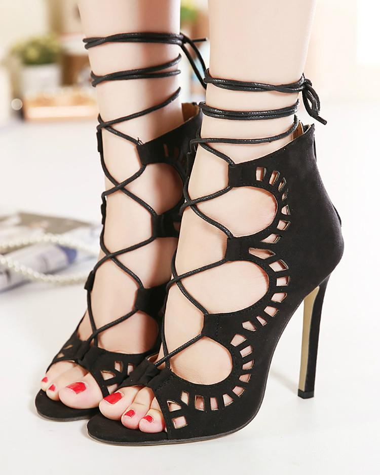 Купить со скидкой Hollow-Out Detail Lace Up Thin Heeled Sandals
