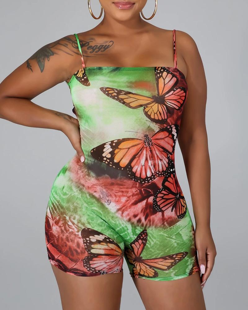 Butterfly Tie Dye Print Backless Bandage Romper фото