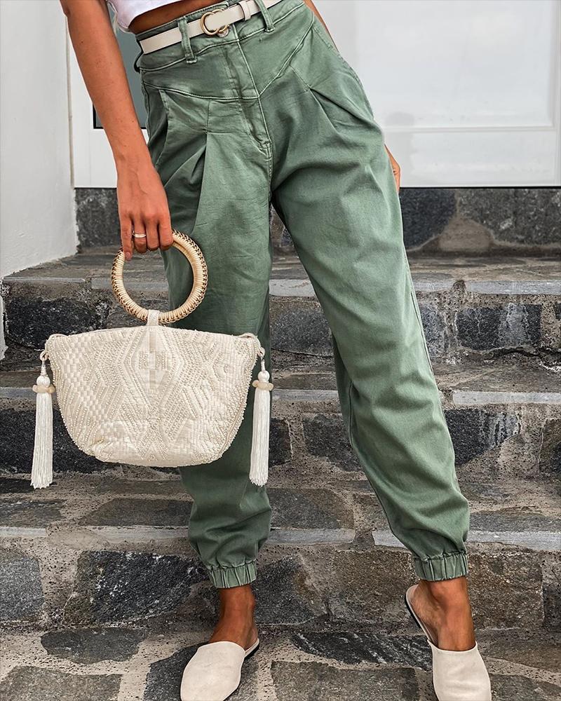 Pocket Design Ruched Casual Pants фото