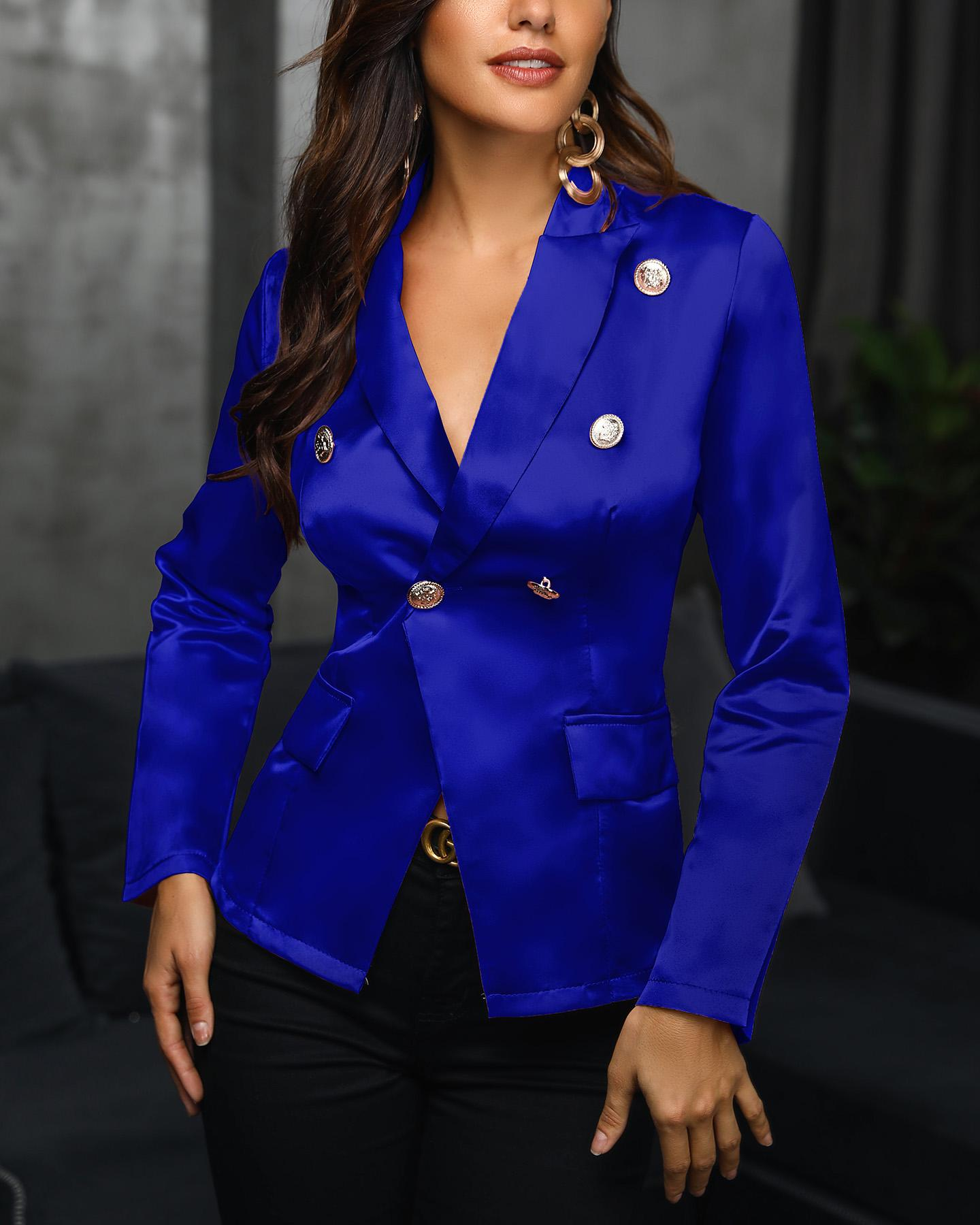 Solid Double-Breasted Blazer фото