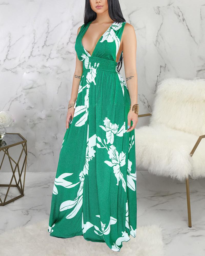 Sexy Floral Print Sling Long Dress