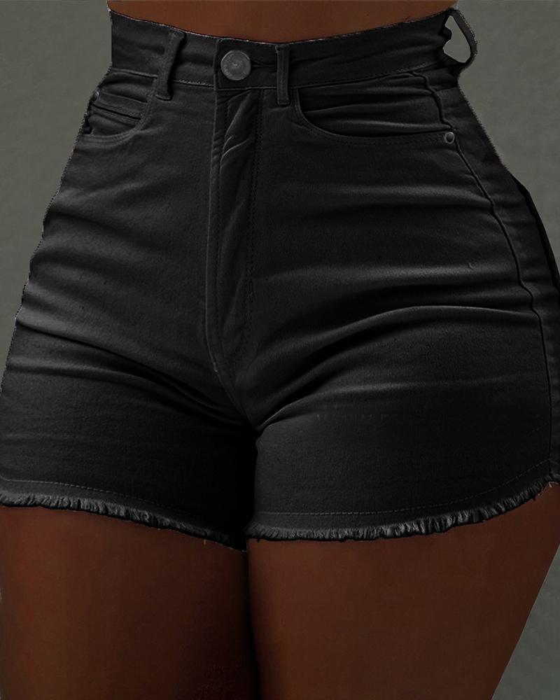 chicme / Fringes Hem Shorts Jeans de Cintura Alta