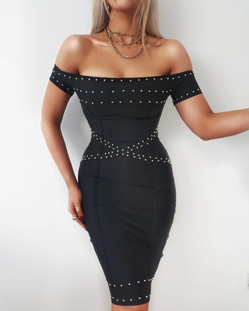 Off Shoulder Beaded Design Dress, Black